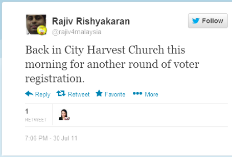 Twitter rajiv4malaysiaBack in City Harvest Church