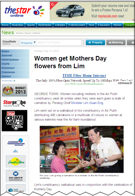 Women get Mothers Day flowers from Lim