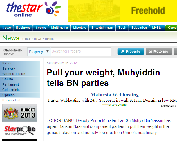 Pull your weight Muhyiddin tells BN parties