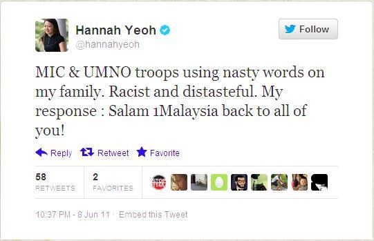 """Pada suatu kala dulu, @hannahyeoh pernah buat perangai mengada-ngada dengan """"sibertrooper"""" (konon) MIC dan Umno """"rasis"""" yang didakwa Hannah telah mengusik keluarganya"""