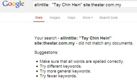 allintitle Tay Chin Hein