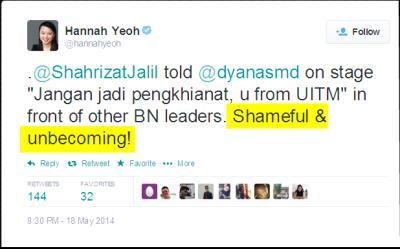Twitter - hannahyeoh- .@ShahrizatJalil told @dyanasmd