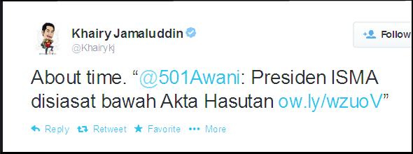 """Twitter - Khairykj- About time. """"@501Awani- ... 2014-05-10"""