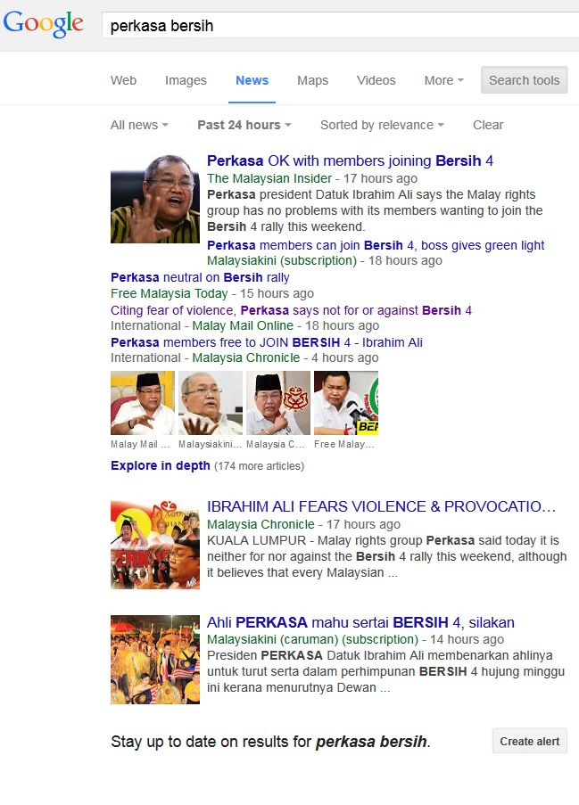 Google top news Perkasa Bersih